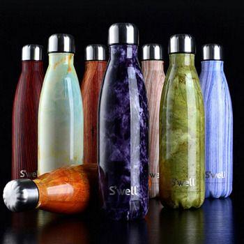 Лидер продаж термос Нержавеющаясталь чайник Вакуумный Мрамор текстура термос Cola/бутылка молока дропшиппинг посуда бутылки