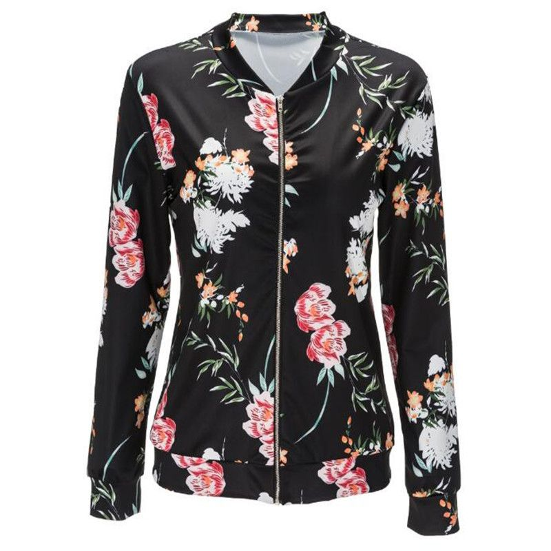 Jacket Women Black O Neck Bomber Jacket 2017 Print Floral Black Coat Casual  Zipper Basic Outerwear Coats Jackets Plus Size
