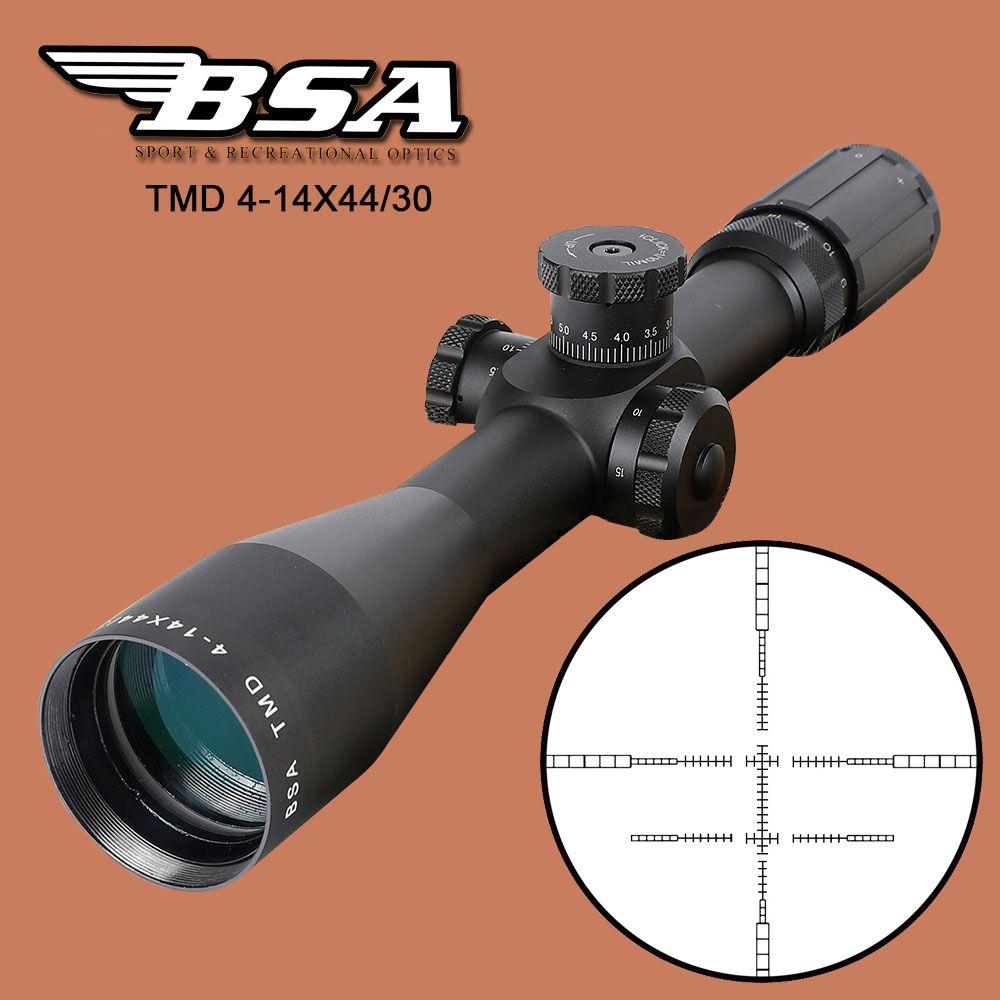 BSA TMD 4-14X44 FFP Jagd Zielfernrohr Erste Brennebene Glas Mil Dot Absehen Tactical Optics Anblick mit Seiten-Höhe Schloss