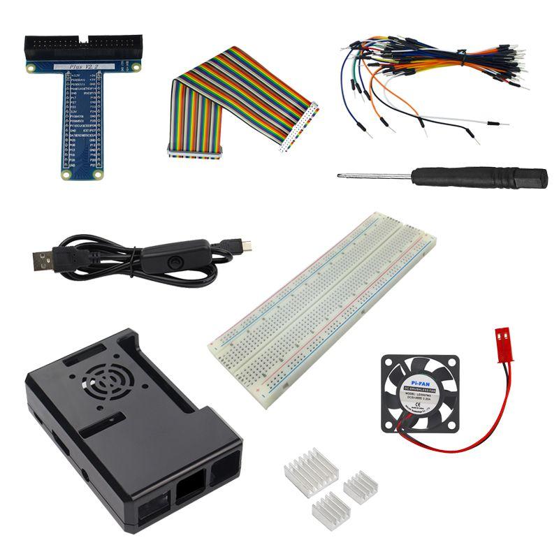 Raspberry Pi 3 Partie Kit ABS Cas + Câble D'alimentation + De Refroidissement ventilateur + Dissipateur de Chaleur + Gpio Conseil Câble Pour Raspberry Pi 3/2 Modèle B/B +