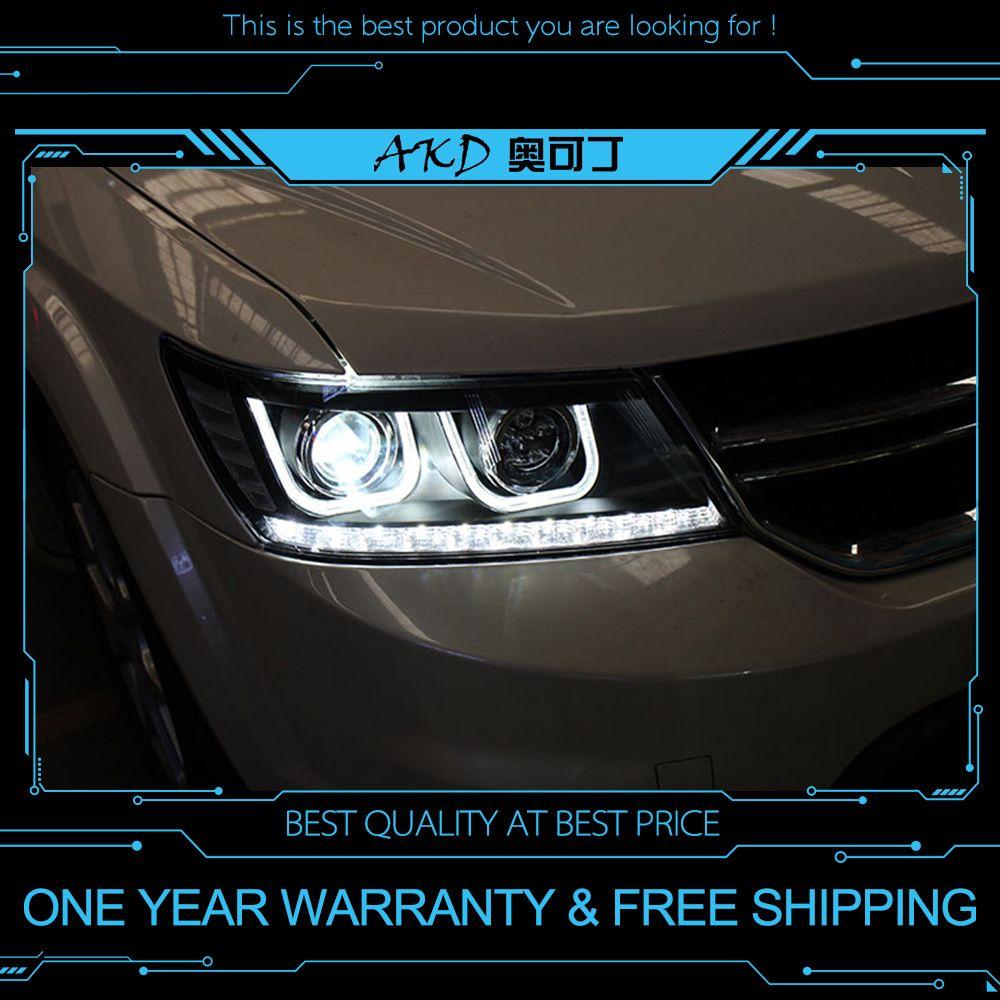 AKD tuning autos Scheinwerfer Für Dodge Journey Fiat Freement Scheinwerfer LED DRL Lauf lichter Bi-Xenon Strahl Nebel lichter engel augen