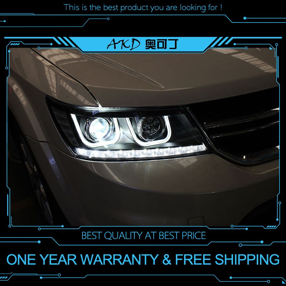 AKD tuning cars Headlight For Dodge Journey Fiat Freement Headlights LED DRL Running lights Bi-Xenon Beam Fog lights angel eyes