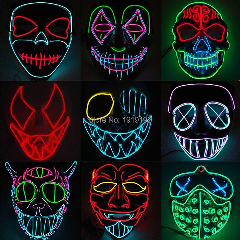 EL masque de fil illumine masque LED néon pour Halloween demain terre effrayant fête cosplay masques par 3V stable sur le conducteur