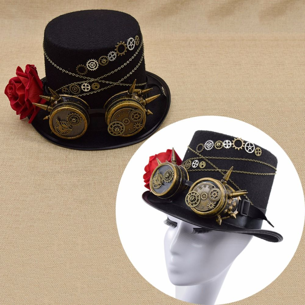 Qlychee Fashion Unisex Accessories Fedoras Steampunk Retro Vintage Top Hat Gothic Wool Gears Victorian Hats Lace Wings Chain