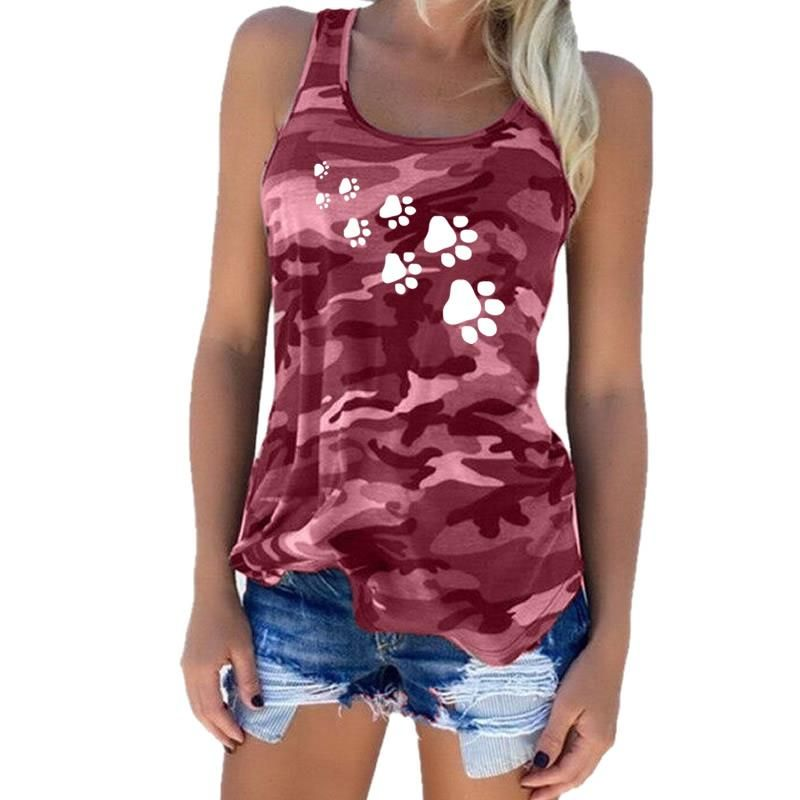 2018 New Fashion Camouflage Dog Paw Print T-Shirt Women Sleeveless Tshirt Top Femme Funny Tumblr Kyliejenner