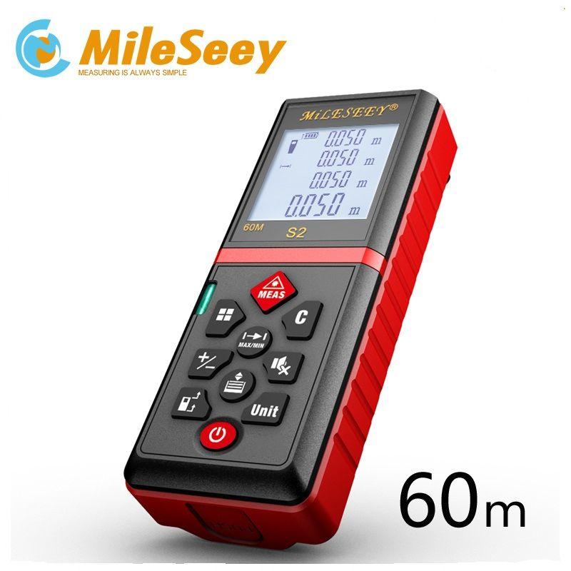 Mileseey Mini compteur de distance laser numérique trena ruban à mesurer laser outil de testeur de diviseur 100M-80M--60M-40M télémètre Laser