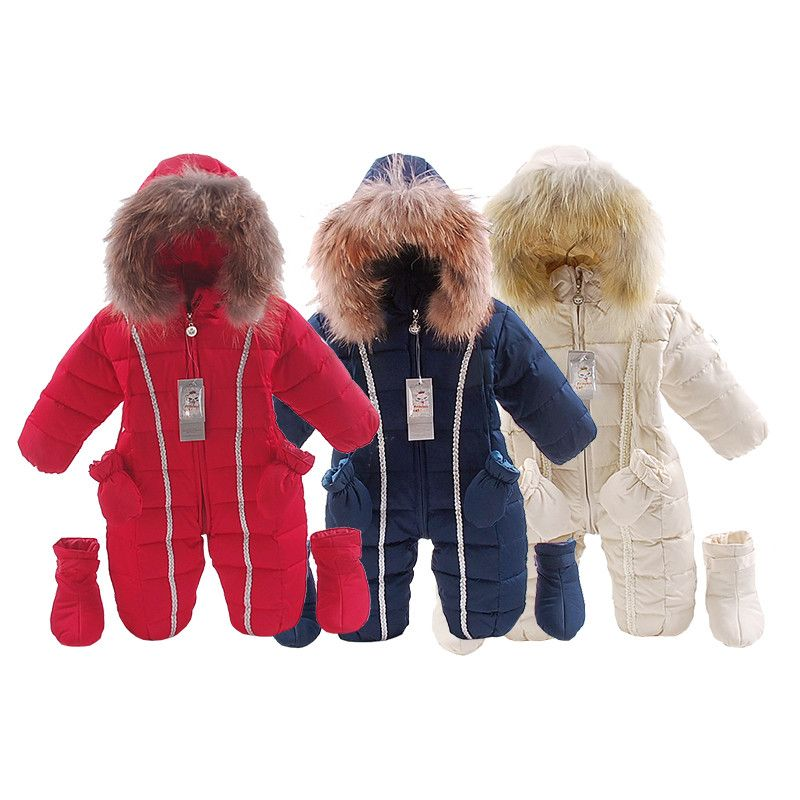 Bébé D'hiver barboteuses bébé Fille Vêtements Chauds 3 pcs/ensemble Garçons Survêtement Enfants Salopette Bébé fourrure naturelle Vers Le Bas habineige