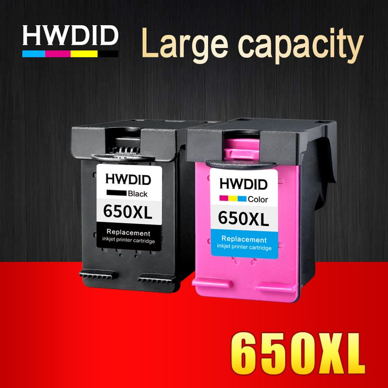 HWDID 2Pack 650XL Refilled Ink Cartridge Replacement for HP 650 XL for HP Deskjet 1015 1515 2515 2545 2645 3515 3545 4515 4645