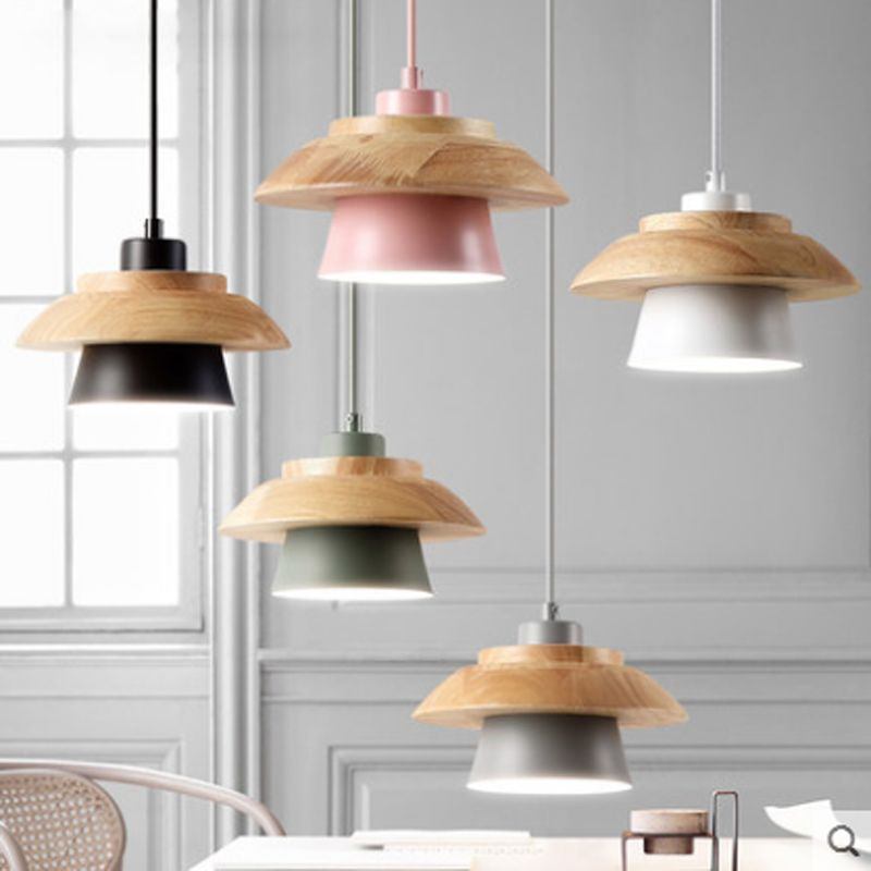 Nordic minimalist restaurant solid wood single pendant lamp creative dining table macaron color matte iron E27 lighting l