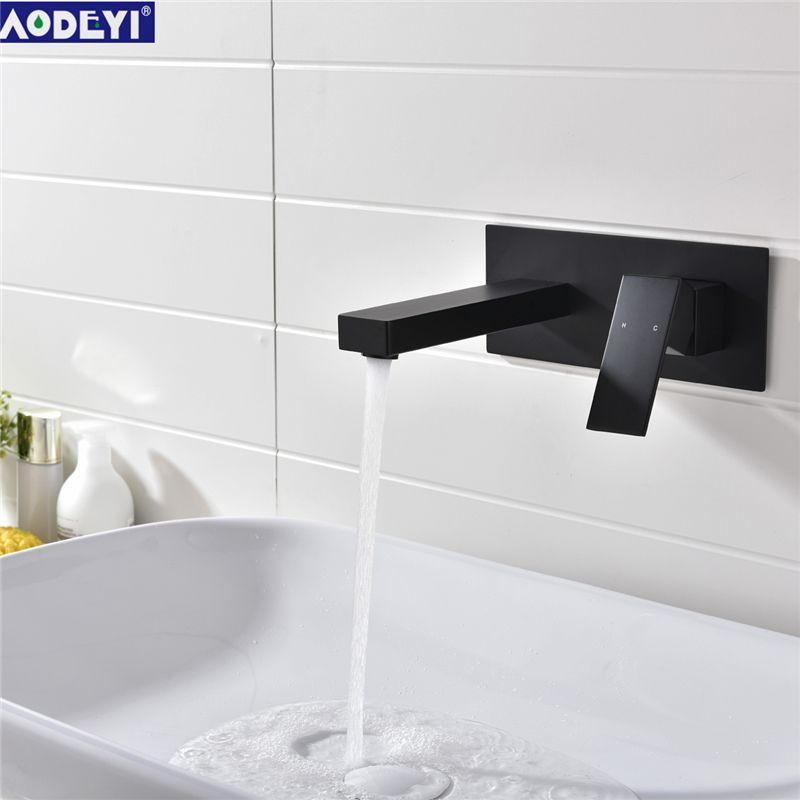 Salle de bains en laiton noir/Chrome finition dans le robinet de bassin mural Double vanne mélangeur de bassin robinet de baignoire évier mélangeur de bassin