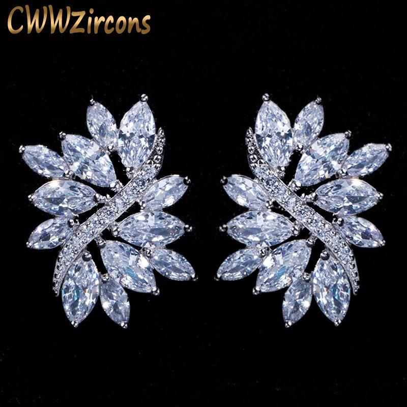 CWWZircons 2018 nouvelle mode couleur argent grand cubique zircone glace fleur boucles d'oreilles pour femmes bijoux cadeau CZ115