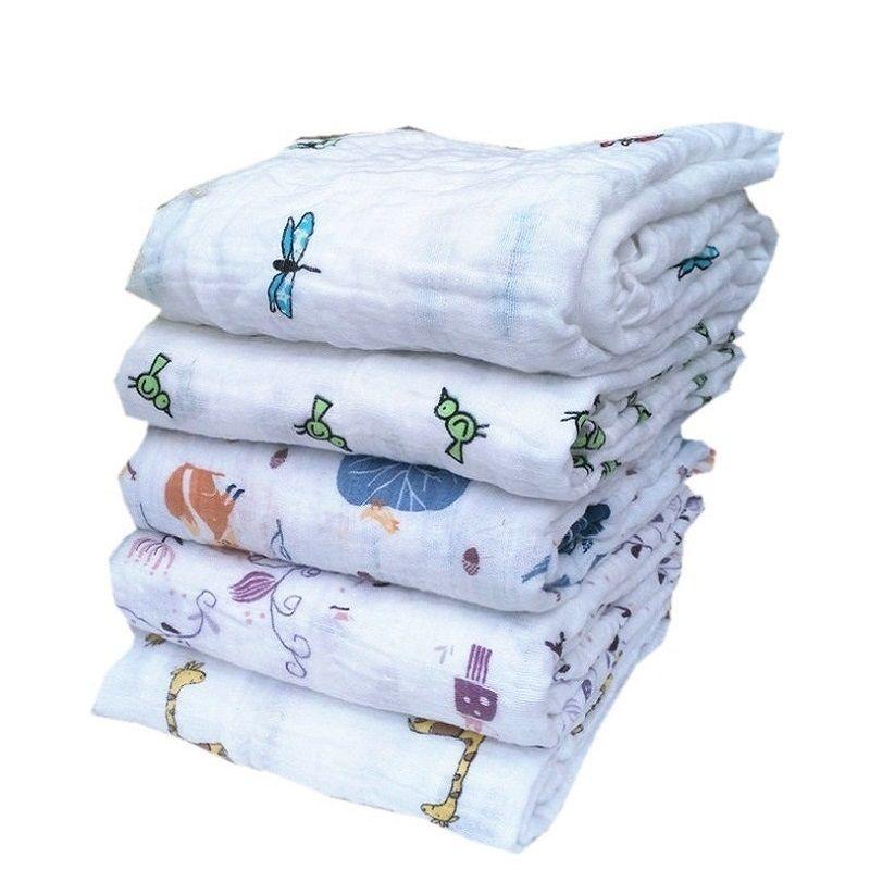 Многофункциональный Супер Мягкий Муслин Хлопок Новорожденный Ребенок Полотенце Одеяло Пеленать Double Washing Label KF474