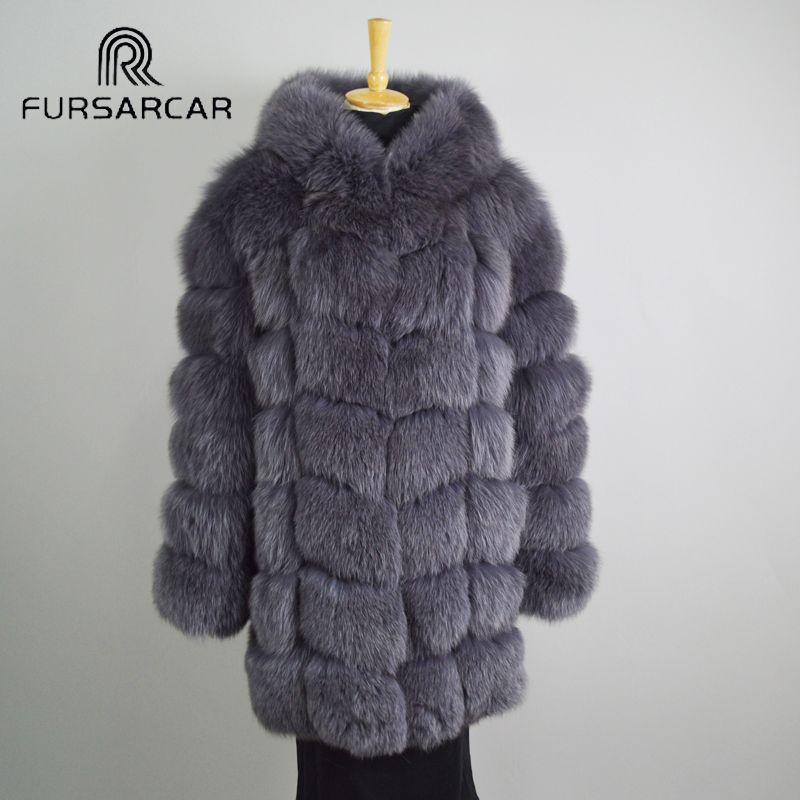 FURSARCAR Echten Fuchspelz Mantel Frauen 2017 Neue Winter Dicken Langen Echtpelz Mäntel Volle hülse Warme Weibliche Jacke mit kapuze C107