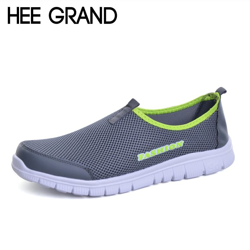 HEE GRAND  Men Shoes 2017 Summer Style Male Casual Slip On Network Breathable Mesh Shoes Men Loafers Size Plus 39-46 XMR199