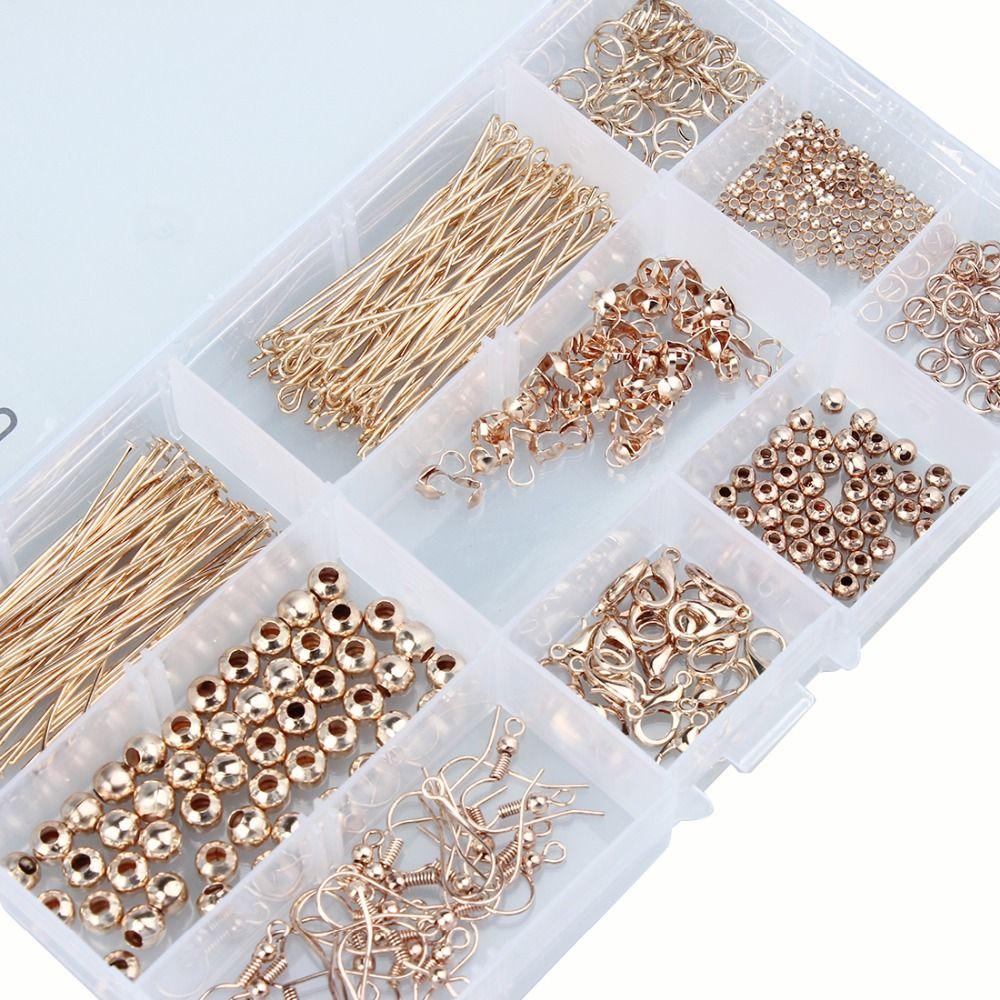 1 set Or Antique Bronze Couleur Perle Caps Anneaux Tête Pins Oreille Fils Homard Claps Bijoux Faisant Des Résultats Kit accessoires