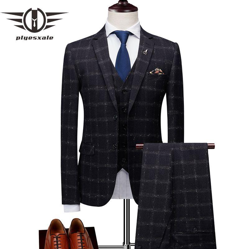 Plyesxale Slim Fit Plaid Anzug Männer 2018 Blau Schwarz Burgund Anzüge Für Männer Marke Hochzeit Smoking Für Bräutigam Jacke Hosen weste Q180