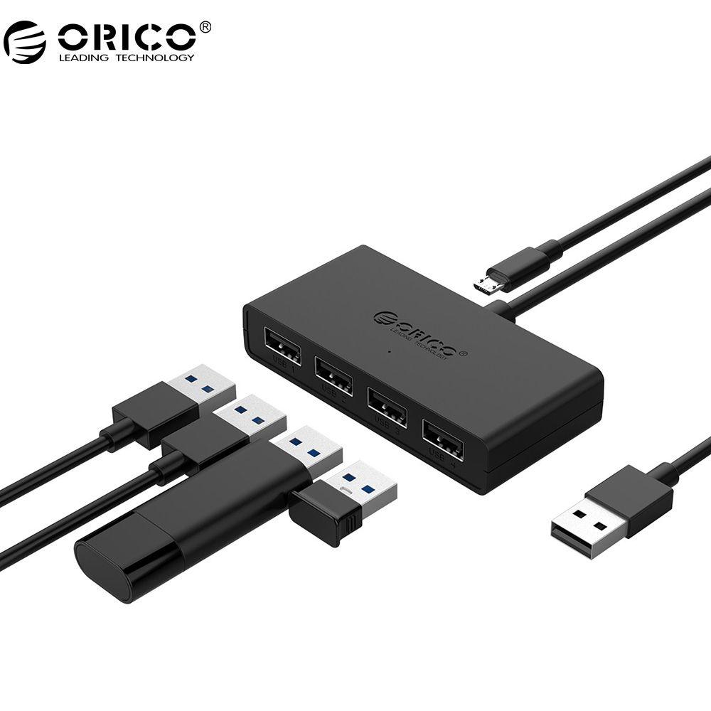 ORICO Mini 4 Port USB 2.0 HUB High Speed Micro Port HUB für MacBook Laptop Tablet Computer-Schwarz/Weiß