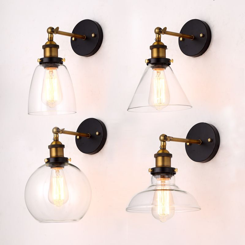 Wholesale Price Loft Vintage Industrial Edison <font><b>Wall</b></font> Lamps Clear Glass Lampshade Antique Copper <font><b>Wall</b></font> Lights 110V 220V For Bedroom