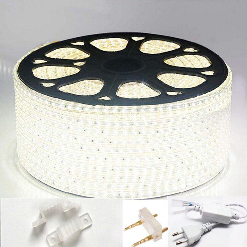 AC 220 V luz de tira llevada 3014 120led/m impermeable IP65 llevó la cinta con cable de alimentación llevó cuerda cinta azul blanco blanco cálido led lámpara
