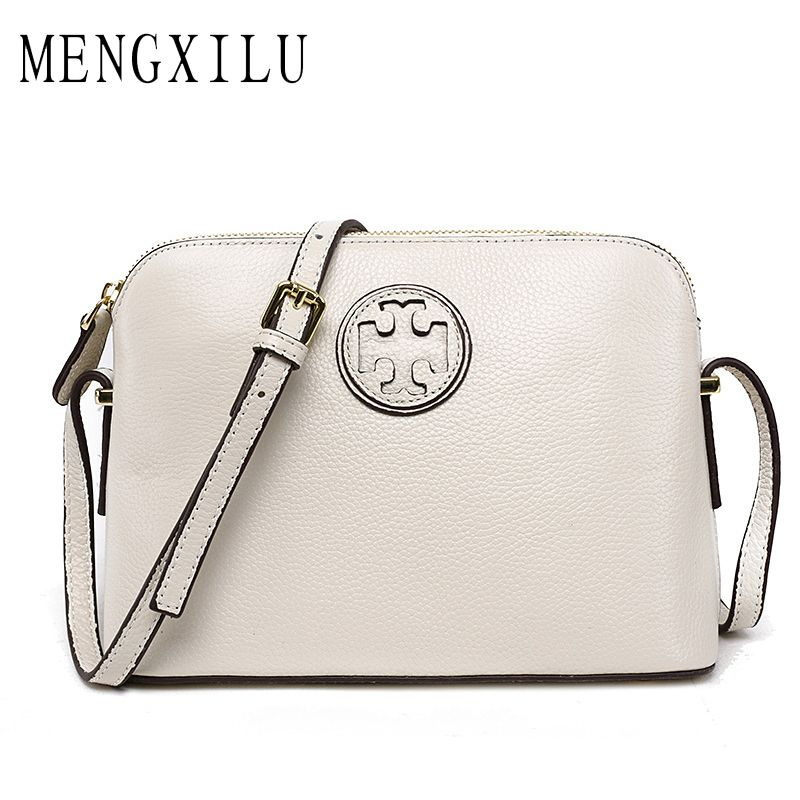 MENGXILU New Fashion Brand High Quality 100% Leather Women Messenger Bags Shell Genuine Leather Bags For Wome Bags Brand