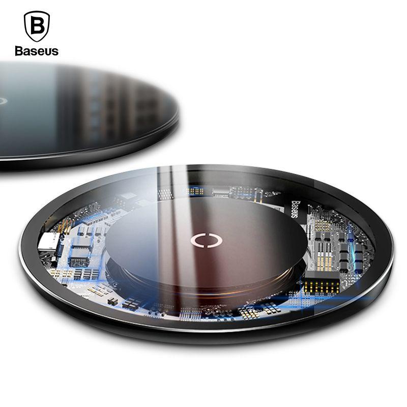 Baseus Qi Sans Fil Chargeur Pour iPhone Xs Max X Verre Panneau Wireless Charging Pad Pour Samsung S9 S8 Sans Fil De Charge chargeur Pad