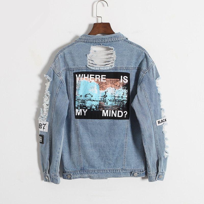 2018 Harajuku autumn winter Korea retro washing frayed embroidery letter patch jeans bomber jacket Light Blue Ripped Denim Coat