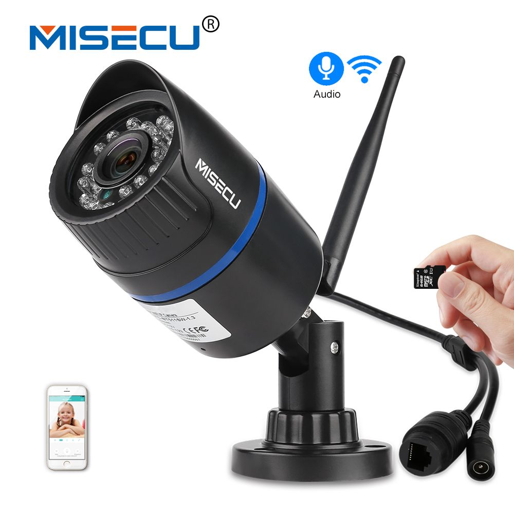 MISECU Audio H.264+ Wifi 2.0MP IP camera built in 64GB SD slot <font><b>1920</b></font>*1080P P2P Wireless email push Night vision IR Outdoor CCTV