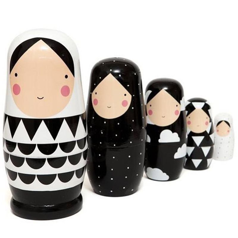 5 pièces ensemble poupées russes de nidification en bois matriochka poupée à la main peint poupées empilables à collectionner artisanat jouet 5 de hauteur 5.5*12.5cm