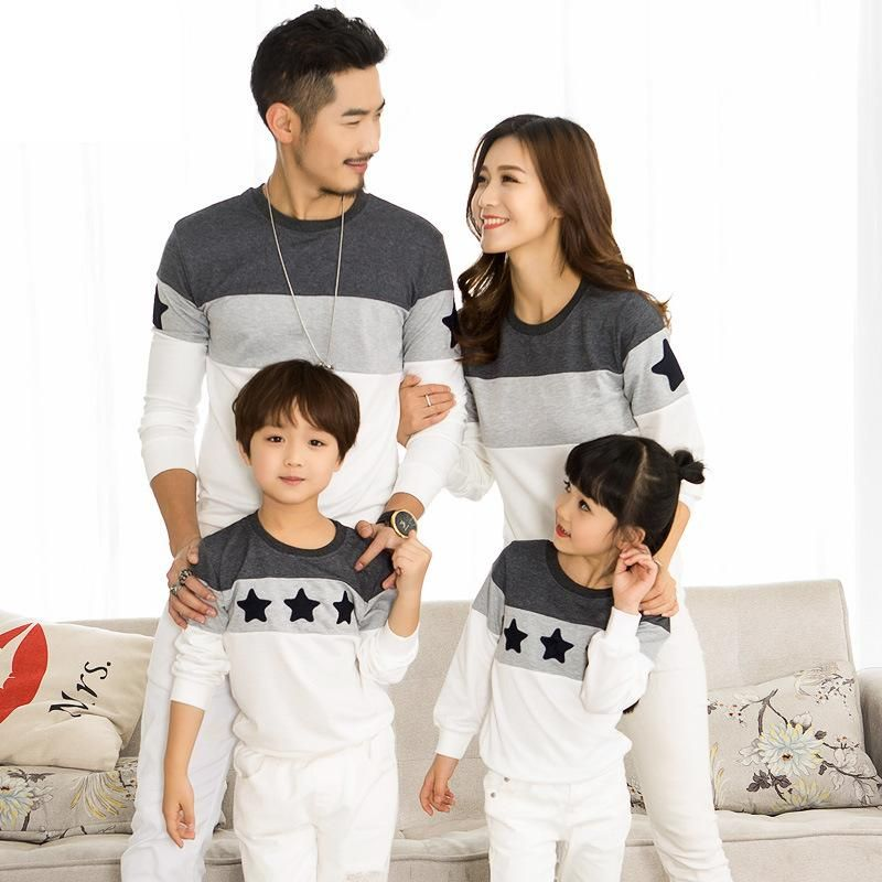 2018 Spring Family Clothing T-shirts <font><b>Couples</b></font> Clothing Dad Mom Kids Long sleeve Sweatshirt t-shirt family matching clothes 2-10 y