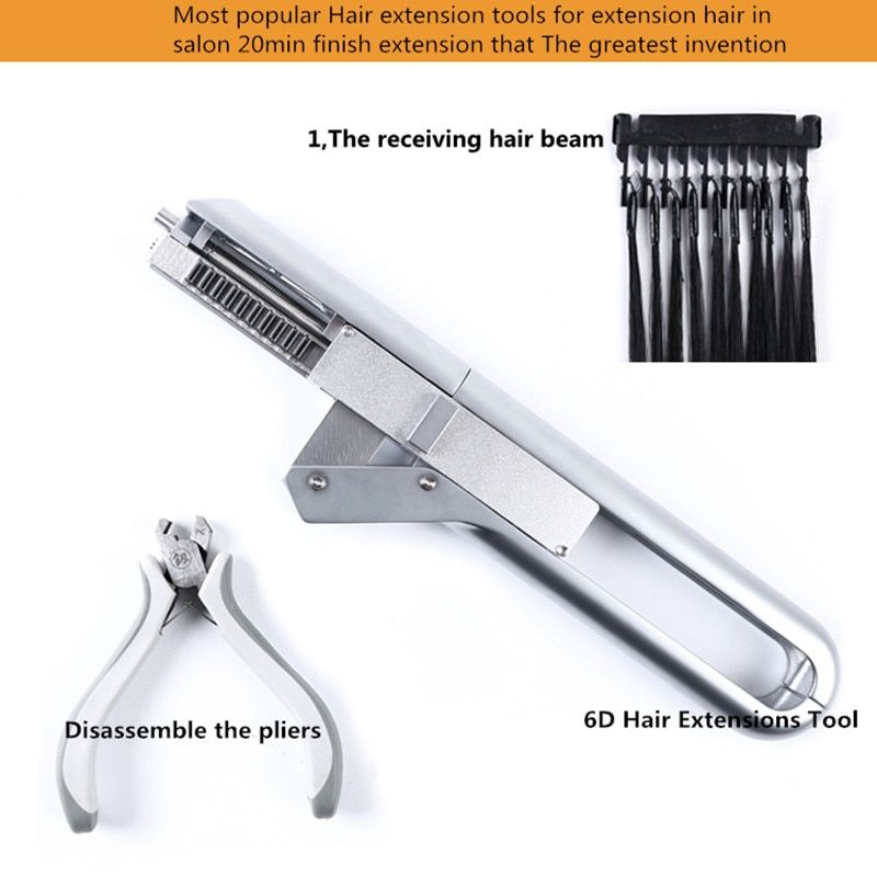 6D No-trace Hair Extension Machine Natural Real Hair Style Wig Connector Tool Kit