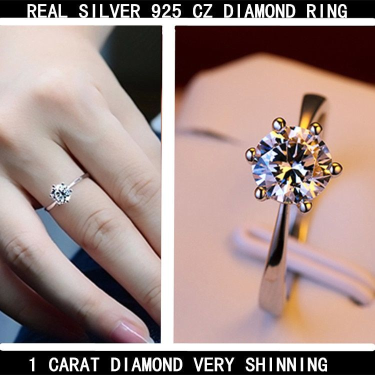 Véritable argent pur 925 argent STERLING brillant zircon cubique brillant anneaux pour femme, couleur or blanc pour fiançailles utilisation de mariage