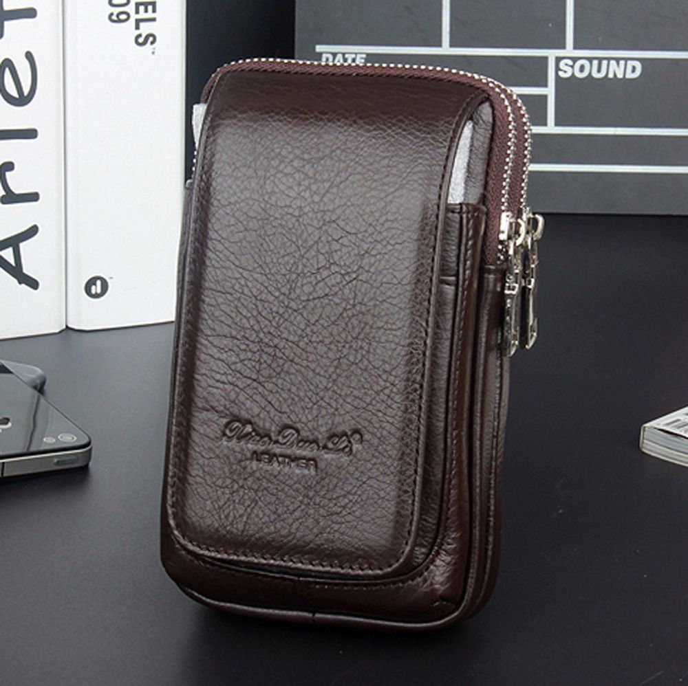 Men Genuine Leather Fanny Waist Bag Cell/Mobile Phone Coin Purse Pocket Belt Bum Pouch <font><b>Pack</b></font> Vintage Hip Bag High Quality 2018