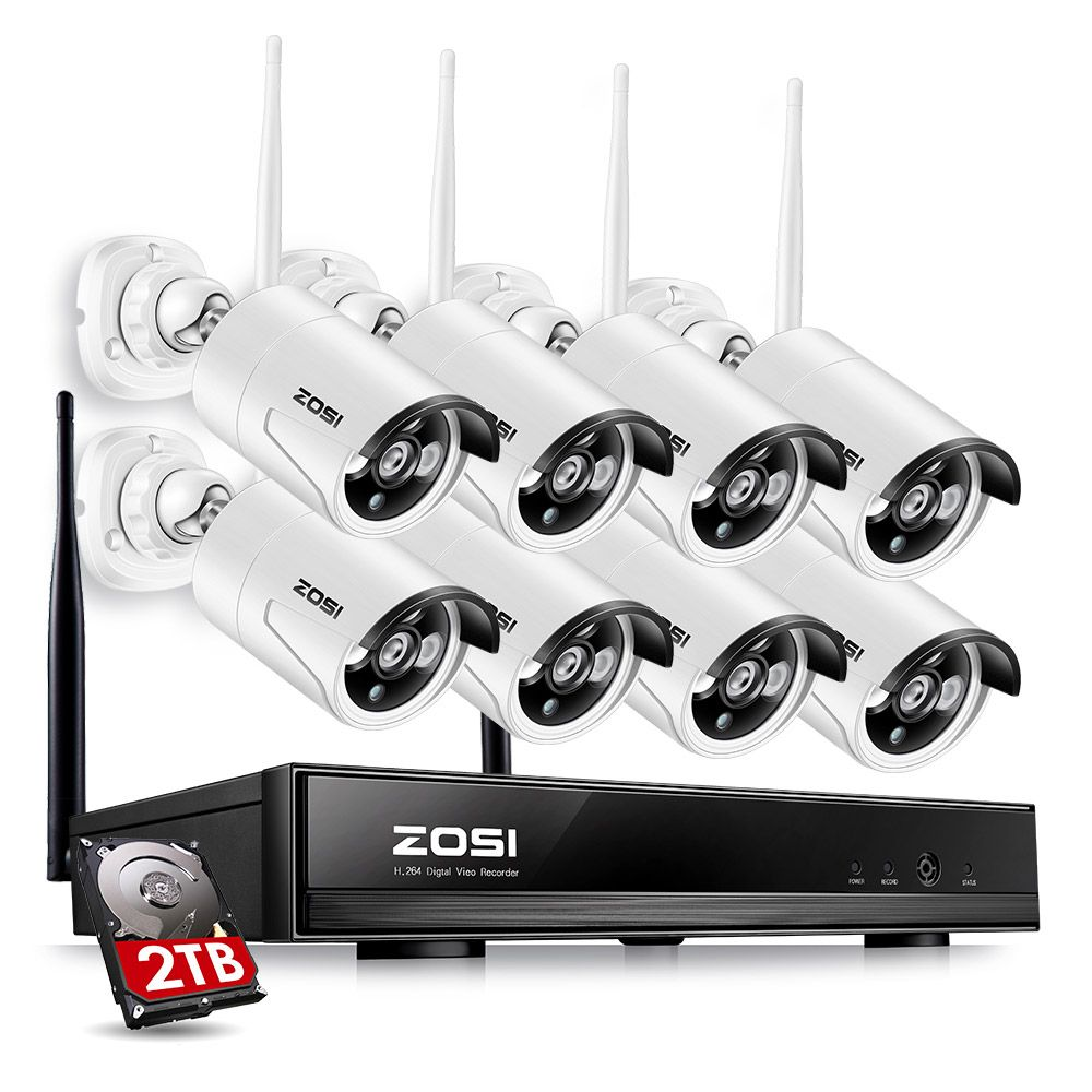 ZOSI 8CH CCTV System Drahtlose 1080P NVR 8PCS 1.3MP IR Outdoor P2P Wifi IP CCTV Sicherheit Kamera System video Überwachung Kit