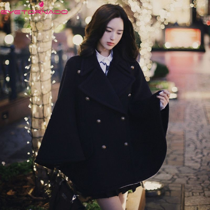 Women double breasted batwing sleeve wool poncho long loose cashmere pea blends cape cloak winter coats high quality casaco 9993