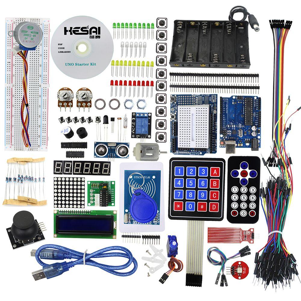 Starter Kit Uno R3 Planche À Pain Et Titulaire Moteur Pas À Pas/Servo/1602 LCD/Cavalier Uno R3 Starter Kit pour arduino