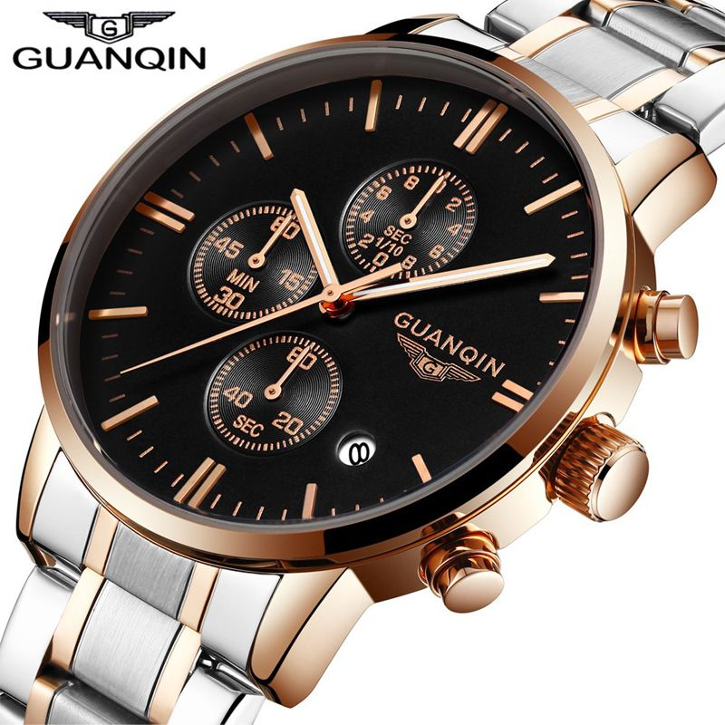 GUANQIN Watches Men Famous Brand Luxury Multi Function Mens Wrist Quartz Watch Waterproof Full Steel Business Male Wrist Watch