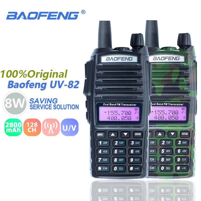 Baofeng UV-82 8W Walkie Talkie Dual Band Dual PTT VHF UHF Two Way Radio Baofeng UV 82 CB Radio Station Portable UV82 Transceiver