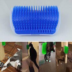 الزاوية الحيوانات الأليفة القط فرشاة مشط لوازم القط تدليك جهاز الذاتي انيمال خدش البلاستيك شعيرات قوس مدلك الحيوانات الأليفة القط فرشاة مشط