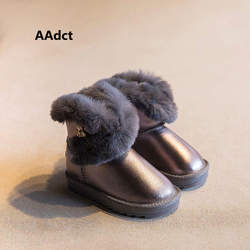Anti-glissant étanche filles bottes de neige enfants chaud cheville bottes D'hiver enfants nouvelles chaussures haute qualité lapin cheveux plat en caoutchouc