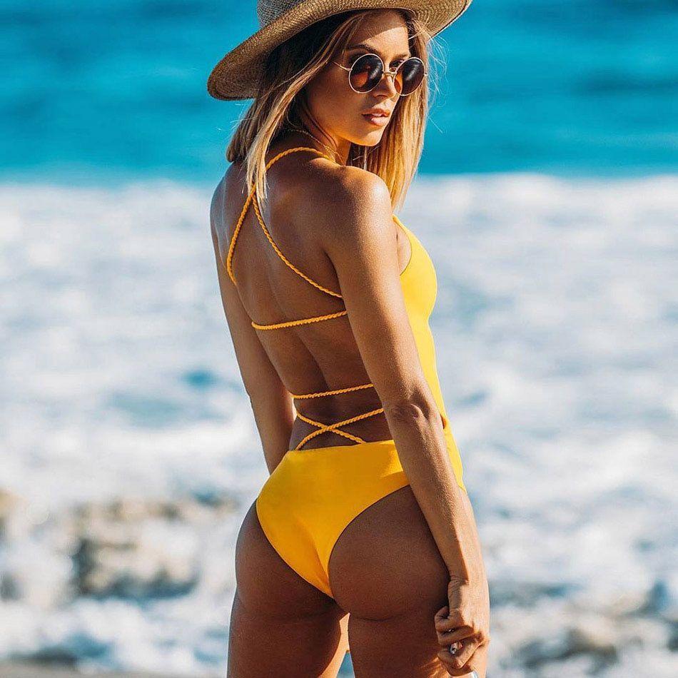one piece swimsuit 2017 Summer Blue Black Sexy Cross Halter Swimwear Women Solid Bathing Suits <font><b>Beach</b></font> Wear Swim Backless Swimsuit