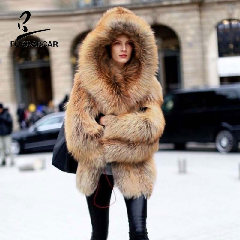 FURSARCAR Fashion Luxury Real Pelzmantel Silber Fuchspelz Mäntel Echtem Leder Frauen Mantel Winter Dicke Warme 70 cm Lange kleidung