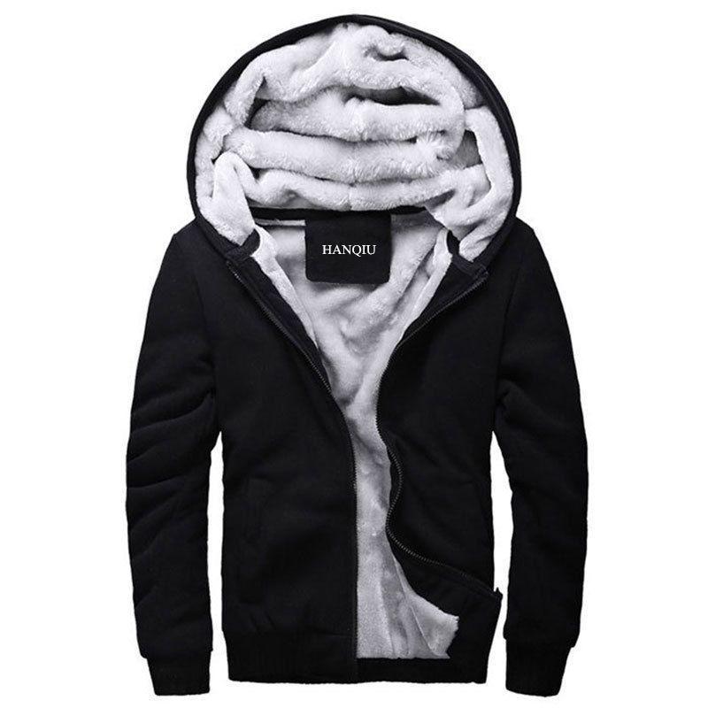 Black Hoodies Men 2018 Winter Jacket Fashion Thick Men's Hooded Sweatshirt Male Warm Fur Liner Sportswear Tracksuits Mens Coat
