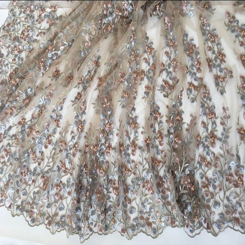 1 Cour Pur À La Main Perle Fleur Net Brodé Tissu Africain Matériel De Lacet Coudre Sur La Robe De Mariage Vêtements Tissu Patchwork Diy