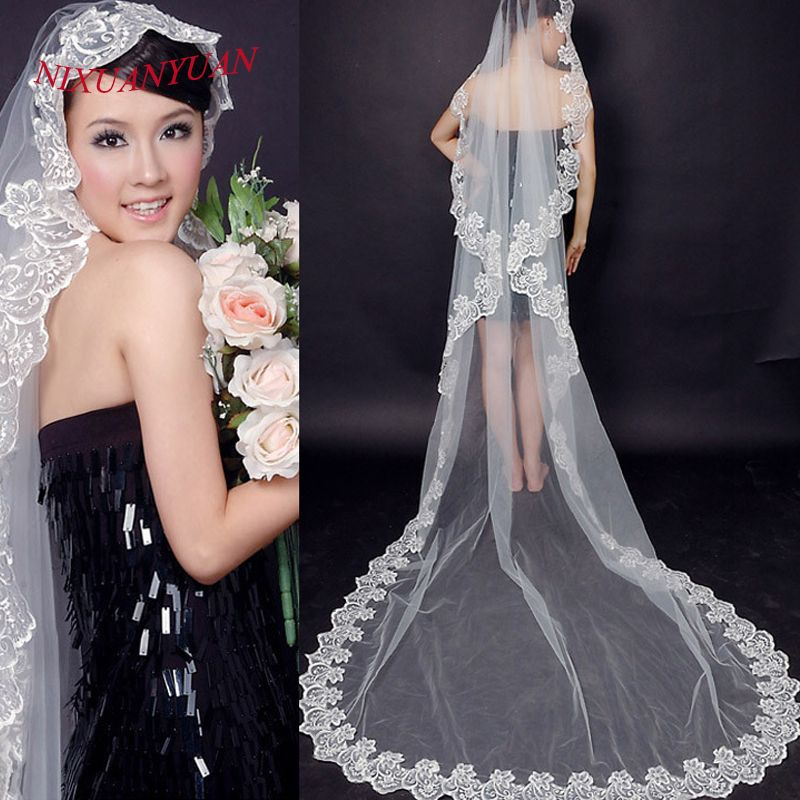 Free Shipping Bridal Veils Long One Layer Wedding Veils Lace Appliques Tulle Ivory / White 2016