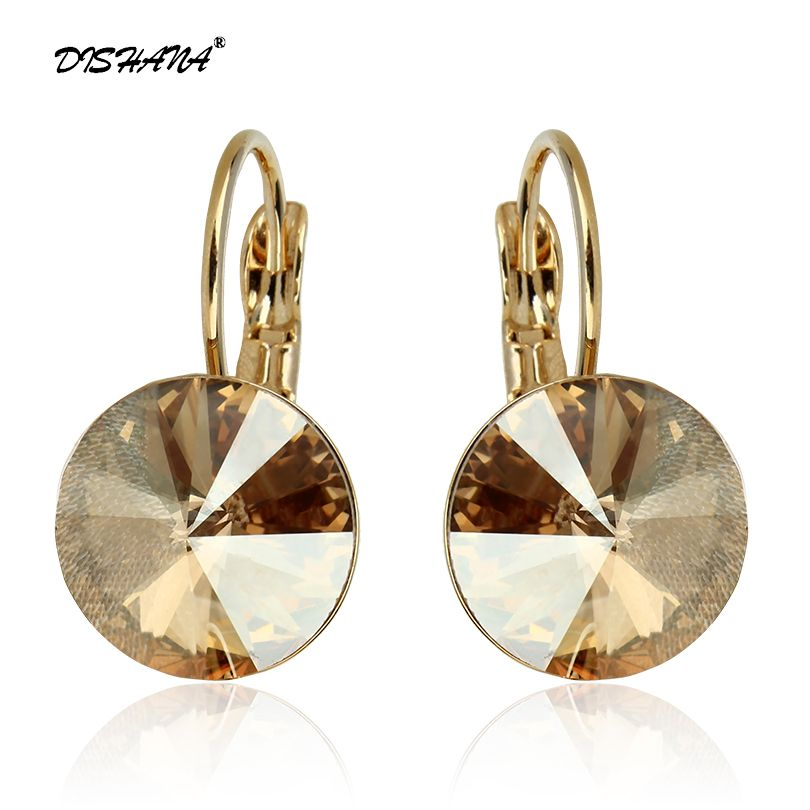 2019 Fashion Jewelry Gold-color Earring For Women Austrian Crystal Purple Drop Earrings Stone Pendientes Mujer Moda Earing E0001