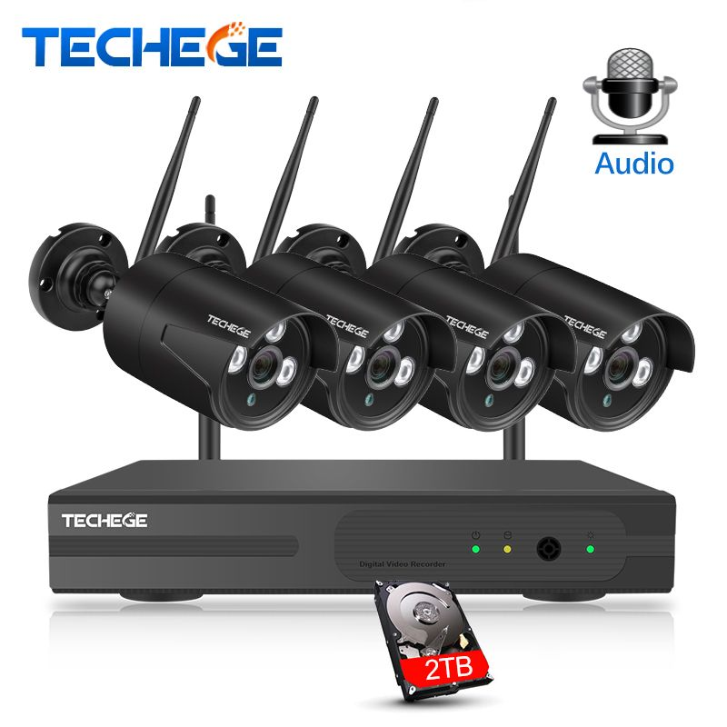 Techege HD 1080P 4CH Wireless NVR CCTV System 2MP Outdoor Waterproof WiFi IP Camera Audio Record Security Video Surveillance Kit