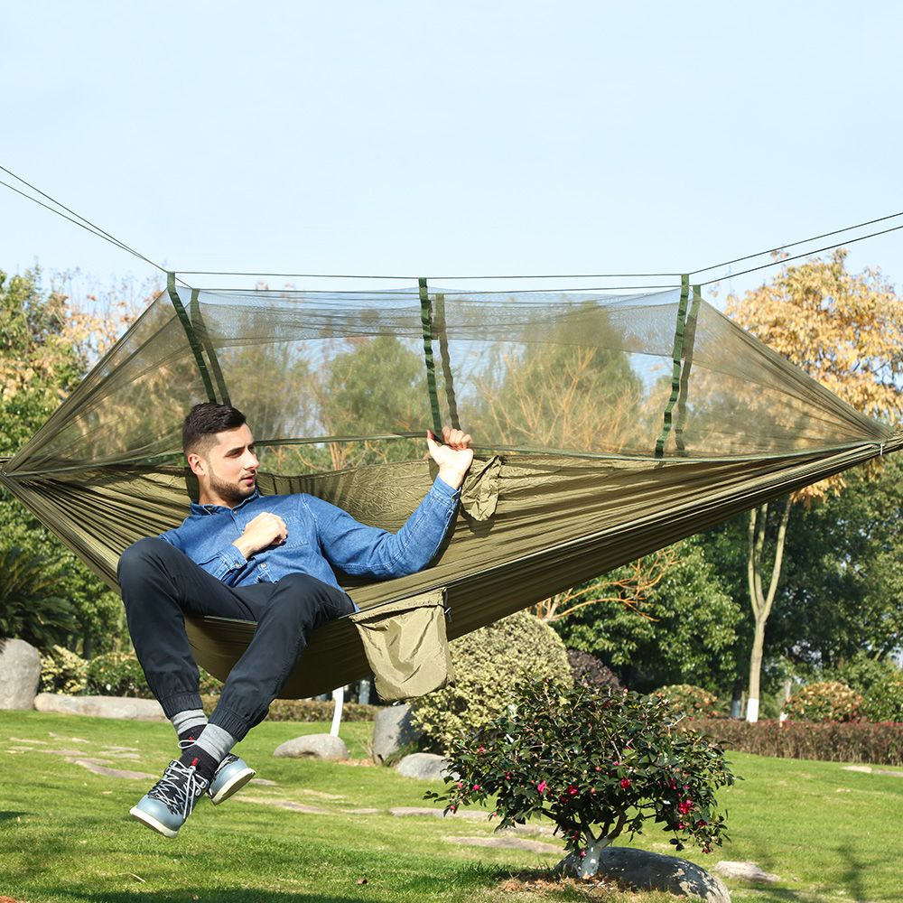 Ultra-léger En Plein Air Camping Chasse Moustiquaire Parachute Hamac 2 Personne Flyknit Hamaca Jardin Hamak Lit Suspendu Loisirs Hamac