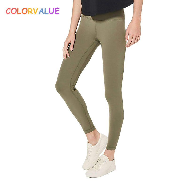 Colorvalue Squatproof Hip Up Yoga Fitness Leggings Women V-shape Solid Sport Gym Tights Top Quality Nylon Workout Pants XS-XL