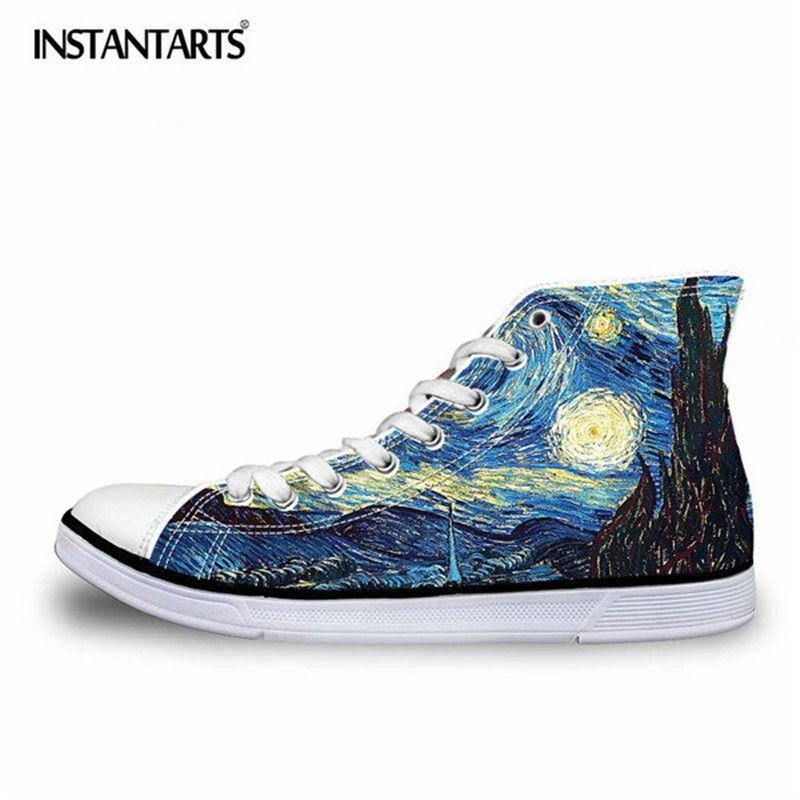 INSTANTARTS mode hommes haut haut toile chaussures Cool 3D main peinture Art impression à lacets vulcaniser chaussures mâle confort chaussures plates