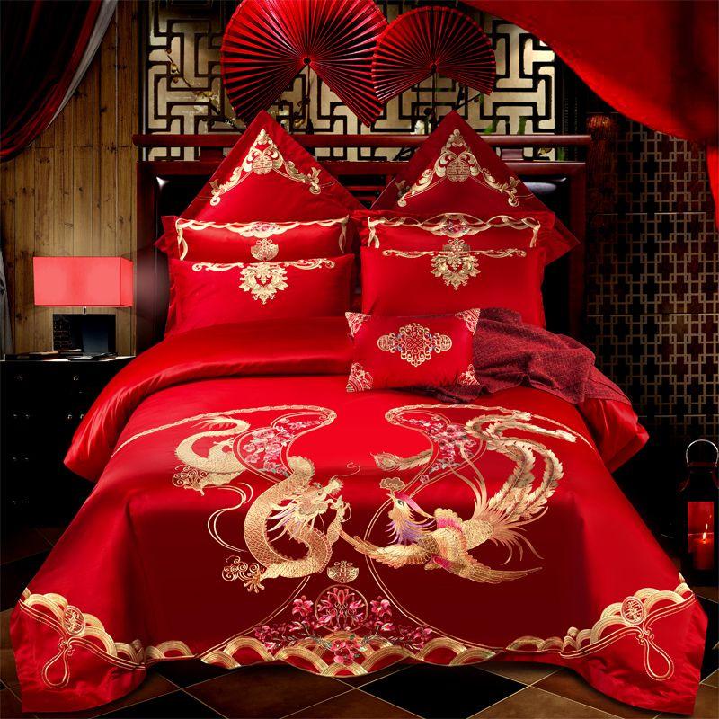 100% baumwolle Liebe paar luxus Hochzeit Bettwäsche Set Stickerei Bettbezug Bett Blatt Kissen Königin König Größe 4/6 /9 stücke